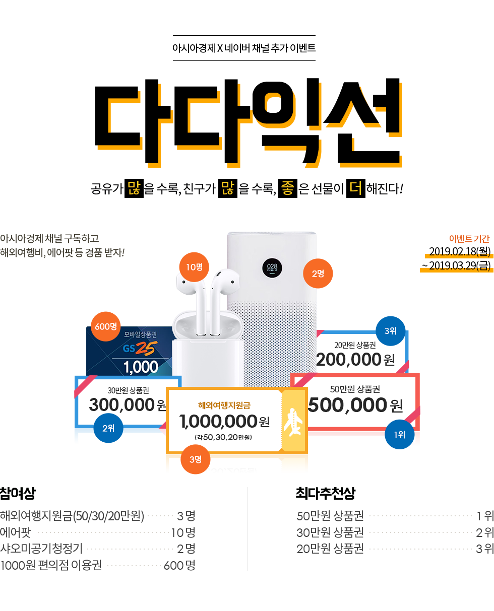 아시아경제 X 네이버 채널 추가 이벤트 이벤트 '다다익선'